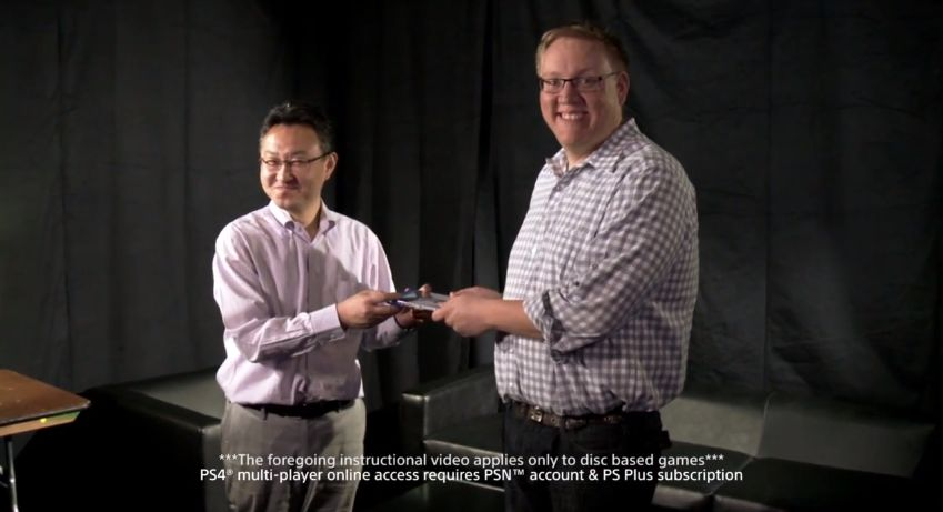 Sony demonstrates its game sharing policy in a parody video--one friend hands is game to the other